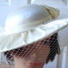 Vintage White/Cream Satin /Netting Women Hat S Nathalie