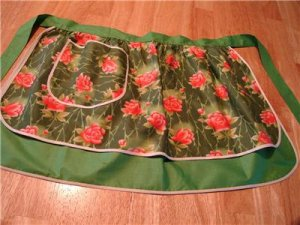 Vintage Green/Red Flowers Hostess Apron Reversible 60s