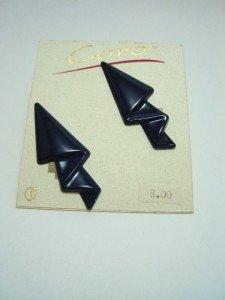 Vintage Navy Enamel Metal Clip Earrings Coro NOS