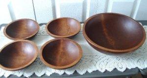 Vintage Wood Salad Serving Bowls Baribocraft  60's