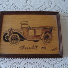 Vintage Wood Burnt  Antique Car Frame 1977  Pyro- Decor