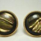Vintage Brown Swirl Moonglow Lucite Clip Earrings