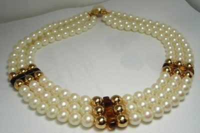 Vintage White Faux Pearls 3 Rows/Goldtone Necklace