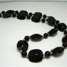 Vintage Black Lucite? Plastic Beads Necklace Gothic