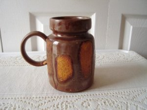 70s Laurentian Pottery Lava Drip Yellow/Brown Mug Vintage