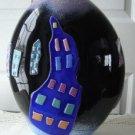 Vintage Black/Houses Art Glass Vase Mark Lewis 89
