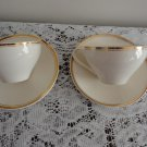 Vintage J & G Meakin 2 China Cup & Saucer White & Gold