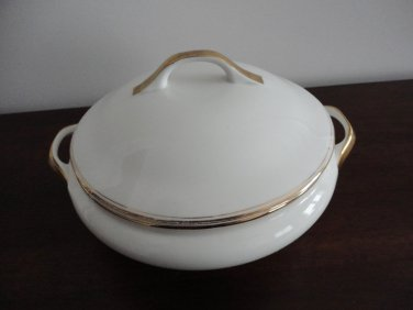 Vintage Wedgwood Covered Vegetable Dish White & Gold