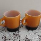 Vintage 4 Fired On Orange & Black Stackable Mugs Fire King