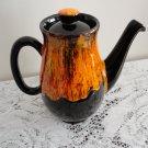 Vintage brown & Orange Pottery Teapot