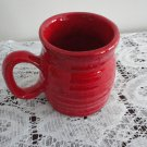 Vintage Bright Red Pottery Mug 70s Laurentian Pottery QC