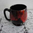 Vintage Red Drip on Brown Pottery Mug Evangeline Canada 70s