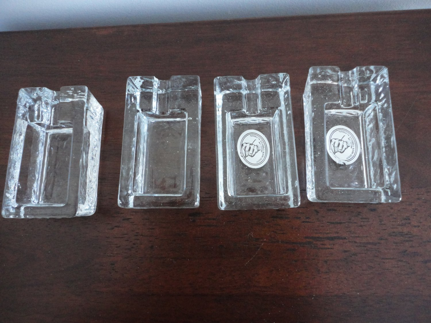 Vintage 4 Glass Ashtray Set Handmade Italy