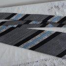 Vintage Black Blue & White Striped Polyester NeckTie Pierre Moreau