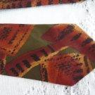 Vintage Rust/Olive Abstract Design Silk Necktie Club International