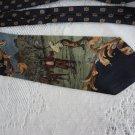 Vintage Navy Retro Golf Design Silk Necktie Polifroni Milano