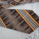 vintage Black/Orange Striped Design Polyester Necktie Signor Caporicci