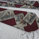 Vintage Burgundy Silk Grey Scenes Necktie KM Milano