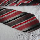 Vintage Red/Black Striped Polyester? Wide Necktie Pierre Moreau