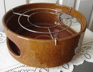 Vintage Medium Brown Pottery Big Warmer Base W.Germany
