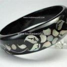 Vintage Black Painted Wood Bracelet Mother of Pearl Inlay Flower & Leaves Design
