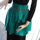 Vintage Green Hostess Half  Apron Smock /Long Ties