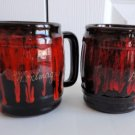 Vintage Red/ Black  Souvenir  Coffee Mugs Canuk Pottery Canada