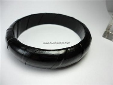 Vintage Black Leather Covered Bracelet Bangle 70's