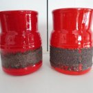 Vintage Red/ Black Lava 2 Beer Mugs  Laurentian Pottery Canada