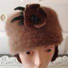 Vintage Old Rose Rabbit Hair Women Hat  XS/S