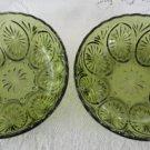 Vintage Green Glass 2 Serving Bowls 70's