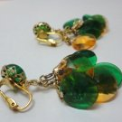 Vintage Clear Orange/Green Facetted Round Beads Lucite? Dangle Clip Earrings NOC