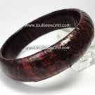 Vintage Burgundy Genuine Snakeskin Bracelet Bangle 60's
