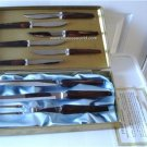 Vintage Brown Bakelite Carving Set Flatware Empire & 6 Steak Knives