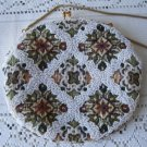 Vintage Tapestry Glass Beaded Oval Evening Purse