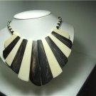 Vintage Bone White/Dark Brown Bib Tribal Necklace/Choker
