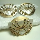 Vintage Gorgeous MOP Lucite,/ Goldtone Brooche Earrings Set 60's