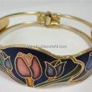 Vintage Cloisonné Flower Blue Clamper Bracelet 70's