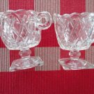 Vintage Pressed Glass Creamer/Sugar Set Crossed Lace Design Square Base