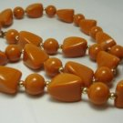 Vintage Butterscotch Lucite Beads Choker Necklace 70's