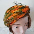 Vintage Orange Leaves & Green Feathers  Women Hat 40's 50's