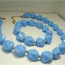 Vintage Blue Lucite  Necklace/ Stretch Bracelet Trifari