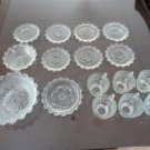 Vintage 16 pieces Lot Cups, Saucers ect. Clear Glass  China Pearlware 50's