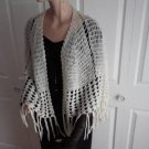 Vintage Creamy White Yarn Crocheted Cape Bed Jacket 60's/70's