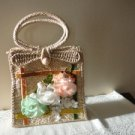 Vintage Natural Straw Purse Organza Flowers So 60s
