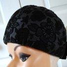 Vintage Black Textured Fabric Hat Brigitte Exclusives Designs XS 21 inches