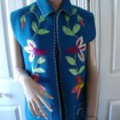 Vintage Embroidered Wool Blend Floral Aqua Women Vest  Small