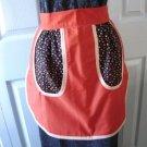 Vintage Burnt Orange/ Black & Flowers Cotton Blend Hostess  Apron