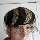 Vintage Russian Inspired Brocard/Satin/Netting Women Pillbox Hat XS 21 inches