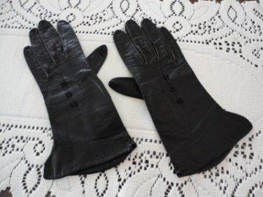 Vintage Black Kid Lady's Gloves S 6 1/4 Kinid